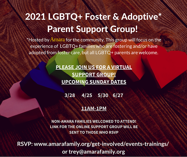 LGBTQ Parent Support Group 2021 Spring Dates
